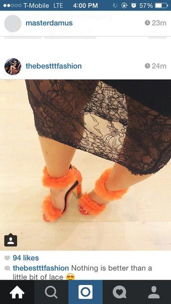 shoes fur shoes orange high-heels open toes