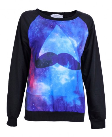 Mustache and Galaxy Print Long Sleeves Sweatshirt - Clothing