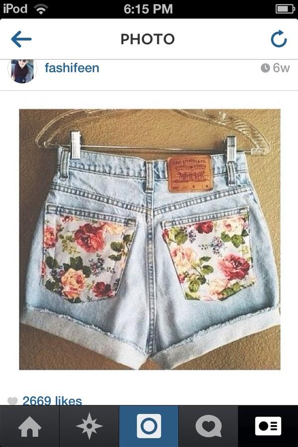 shorts High waisted shorts floral back pockets