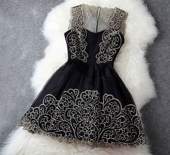 Elegant Gold Thread Embroidery Dress on Luulla
