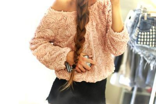 sweater nude roses oversized sweater blouse floral white sweatshirt t-shirt shirt pink top