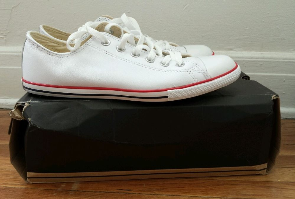 Converse All Star Chuck Taylor Slim Cut White Leather Low Top Shoes US 8 9 | eBay