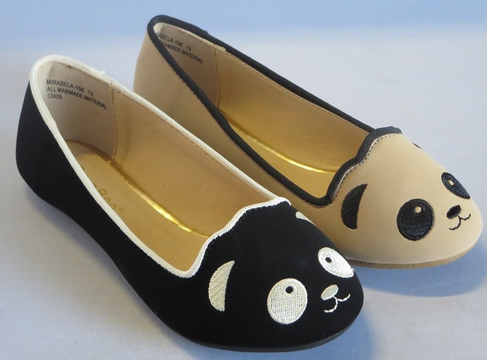 Girl Flats Panda Face MIRA15 Youth Flower Girl Pageant Dress Shoes Black Nude | eBay