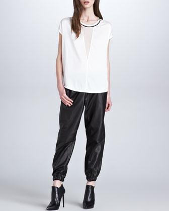 Robert Rodriguez Sheer-Inset Silk Top & Leather Elastic-Cuff Pants - Neiman Marcus