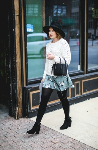 life & messy hair blogger sweater tights shoes dress bag hat scarf white sweater felt hat mini skirt ankle boots