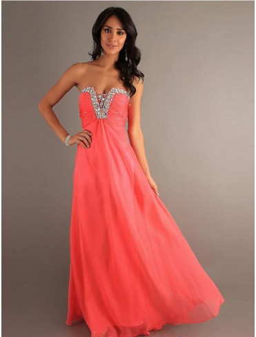 UK Dresses 30-75% Off - 2013 V-neck A-line Sleeveless Floor-length Chiffon Prom Dress #FC066