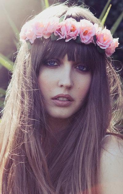 Stirnband Blume Krone Coachella Stirnband Pink Flower von Eterie