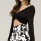 Overlapped front long sleeve crop top - black
