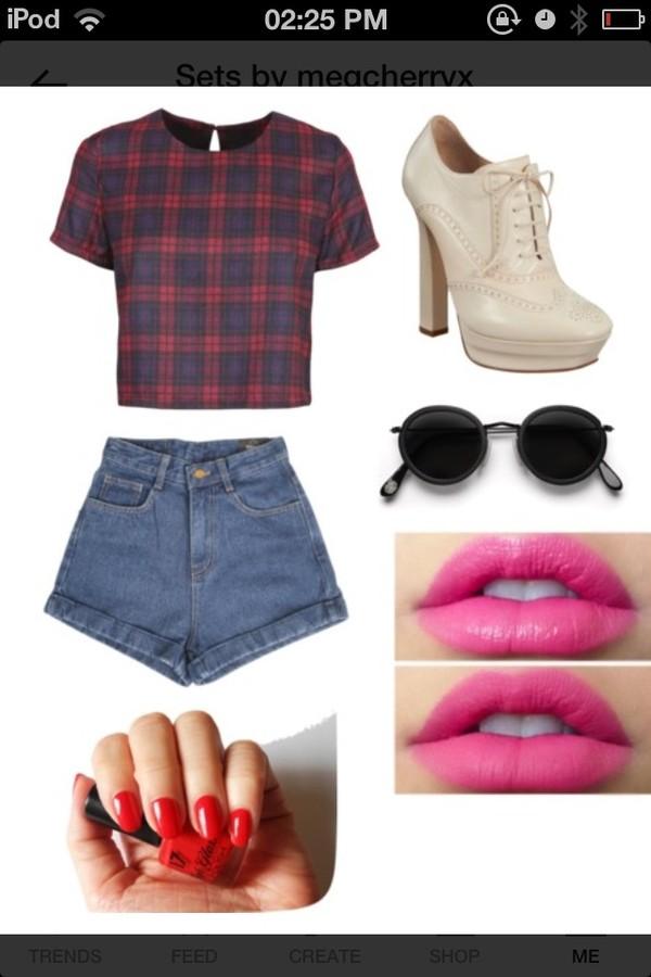 shorts polyvore tartan boots heels top glasses shirt pink lipstick red nails