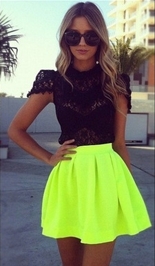 Neon Skirts Women 2014 Summer Fashion High Waist  Mini Skirt  New Style 4 Color Short Skirts Free Shipping-in Skirts from Apparel & Accessories on Aliexpress.com