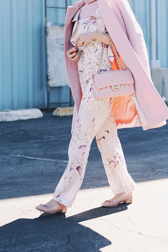 hallie daily blogger shorts top jumpsuit coat jewels shoes sunglasses chanel bag pink coat floral jumpsuit all pink everything
