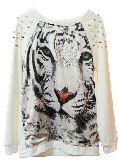 White Tiger Face Print Rivets Sweatshirt - Sheinside.com Mobile Site