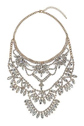 Premium Multirow Rhinestone Necklace - Topshop