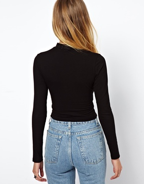 ASOS | ASOS Crop Top with Long Sleeves and Turtle Neck at ASOS