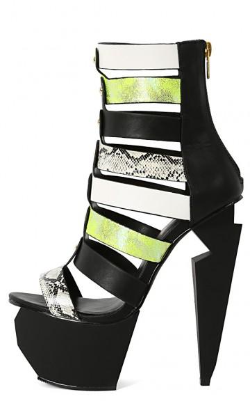 Privileged Stromy Snake Hologram Heels | MakeMeChic.com