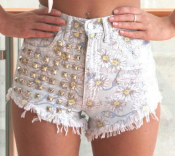 shorts floral flowered shorts studded shorts silver studs flower shorts