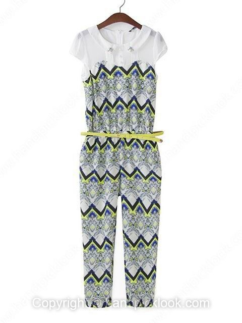 White Lapel Short Sleeve Zigzag Striped Print Jumpsuit - HandpickLook.com