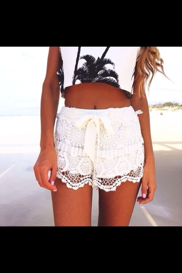 shorts white lace outfit ribbon cute t-shirt skirt