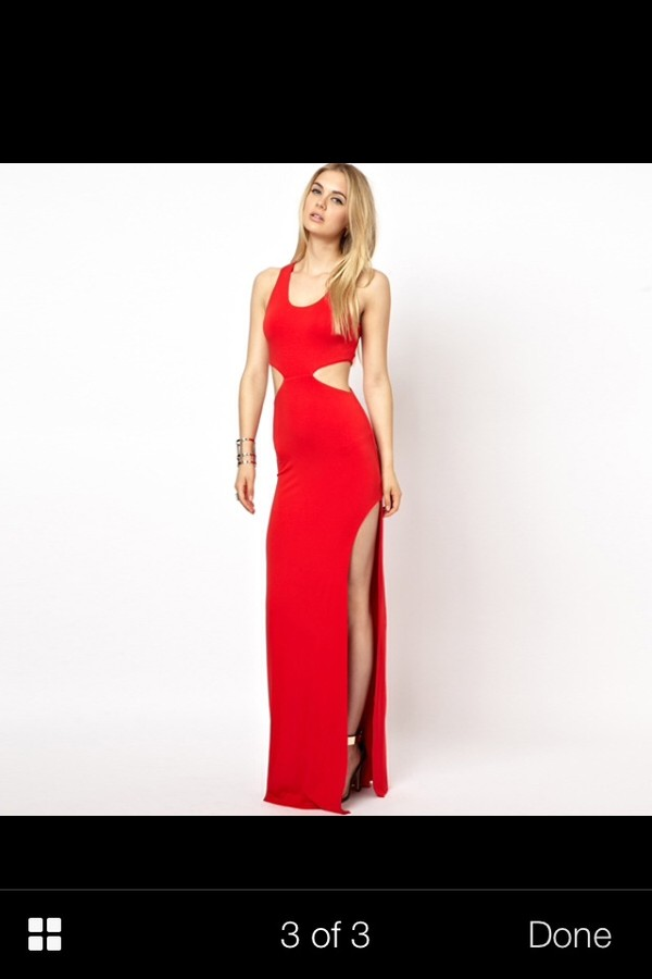 dress red maxi cut-out