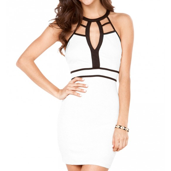 Contrast Trim Cutout Halterneck Bodycon Dress at Style Moi