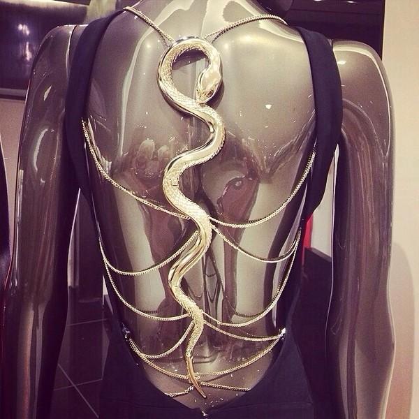 dress jewels blouse backless dress accessorie snake