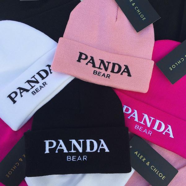 hat beanie toque beanie panda panda bear panda hat pandas prada miu miu alex and chloe alex & chloe pink hot pink fuchsia black black beanie pink beanie