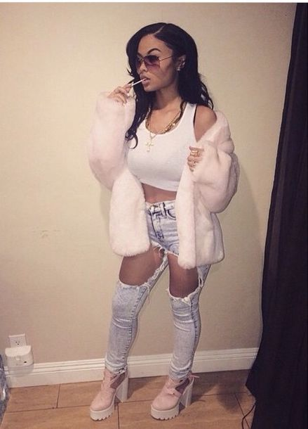 white crop tops sports bra fuzzy coat pastel pink sope ripped jeans jeans cleated sole platforms outfit jacket tumblr fur coat pink fashion