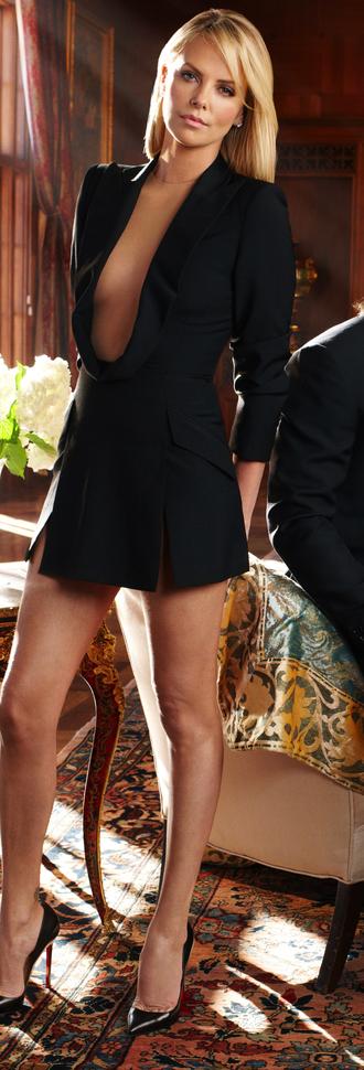 black dress sexy dress plunge v neck charlize theron blazer dress blouse coat shoes dress