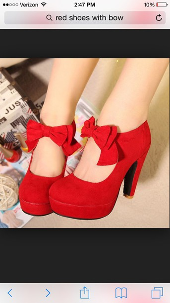 shoes red high heels bow high heels