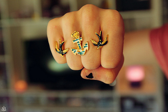 jewels ring jewelry anchor birds blue ocean sea double ring