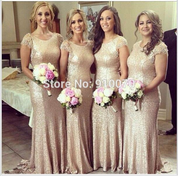 dress bridesmaid dress long bridesmaid dress cheap wedding party dress sequins prom dress champange bridesmaid dress