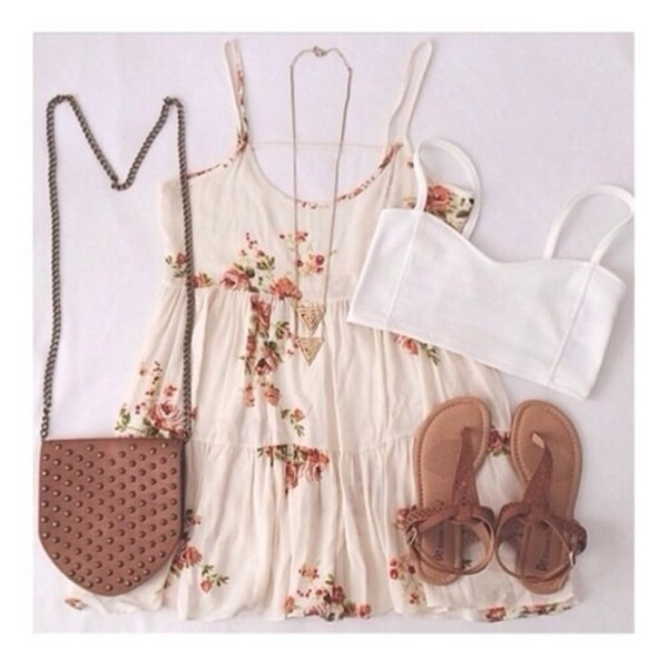 dress flowers necklace sandals crop tops purse top shoes aztec tribal pattern shirt bag jewllery beige cream floraldress casual dress underwear jewels summer dress floral dress white