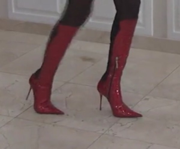 shoes red high heels red boots pointed toe over the knee boots