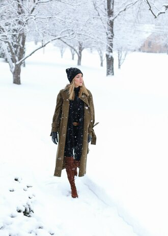 memorandum blogger coat jeans shoes hat belt scarf gloves winter outfits winter coat beanie knee high boots brown boots