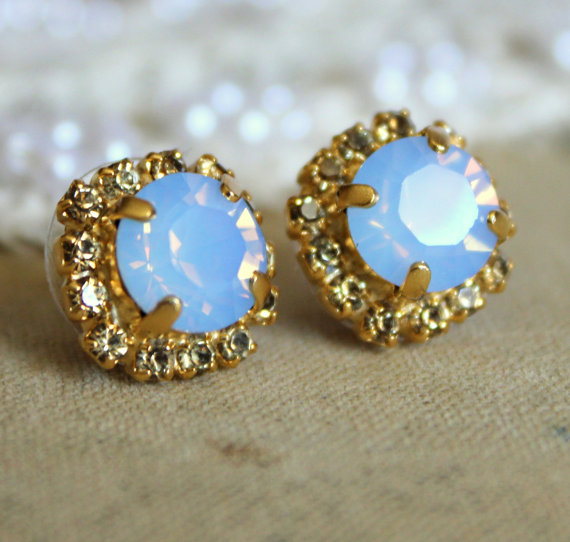Opal Crystal stud aqua blue earring  14k plated gold by iloniti