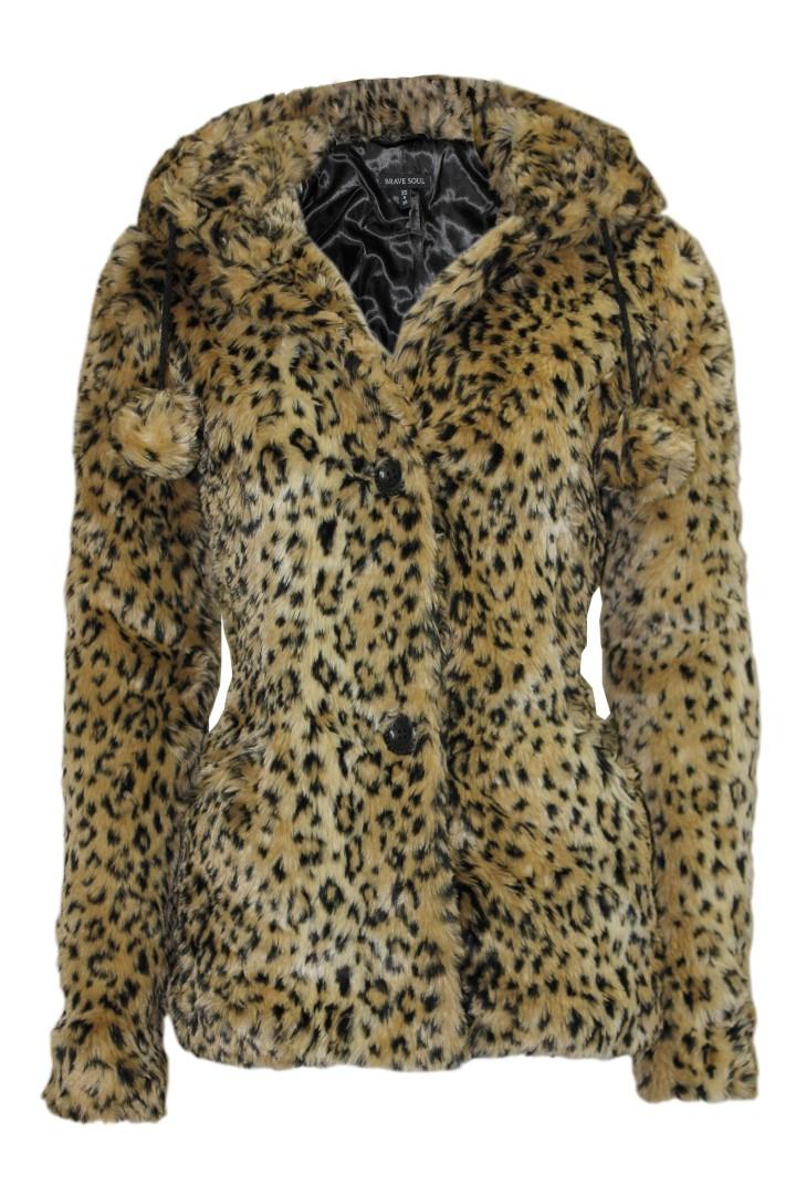 LADIES POM POM LEOPARD PRINT HOODED FUR JACKET WOMENS WINTER COAT | eBay