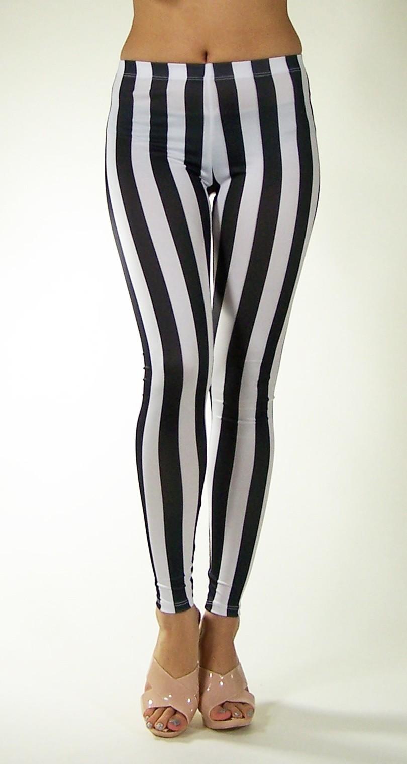 Sexy Women Leggings Black White Vertical Stripe Zebra Stretchy Tights Pants | eBay