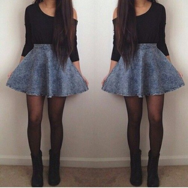 skirt denim skirt skater skirt