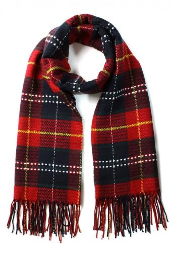 Scotland Check Fringe Scarf in Red - Retro, Indie and Unique Fashion