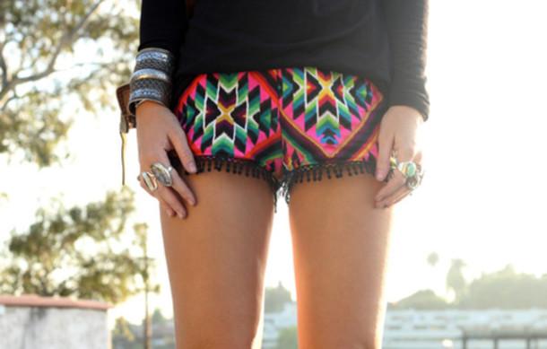 shorts ethnic shorts ethnic print bohemian colorful aztec
