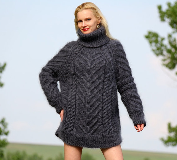sweater hand knit made mohair wool cable grey supertanya turtleneck