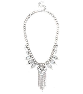 Silver Gem Chain Tassel Necklace
