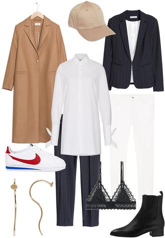 teetharejade blogger coat cap blazer sneakers boots nike camel coat black blazer nude lace bra chelsea boots outfit idea