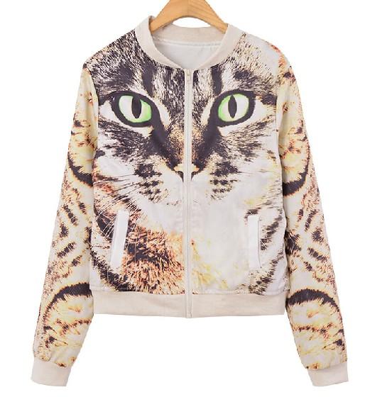 Harajuku Cat Printed Jacket on Luulla