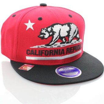 Amazon.com: California Republic Flat Bill Vintage Style Snapback Hat Cap Red Black: Clothing