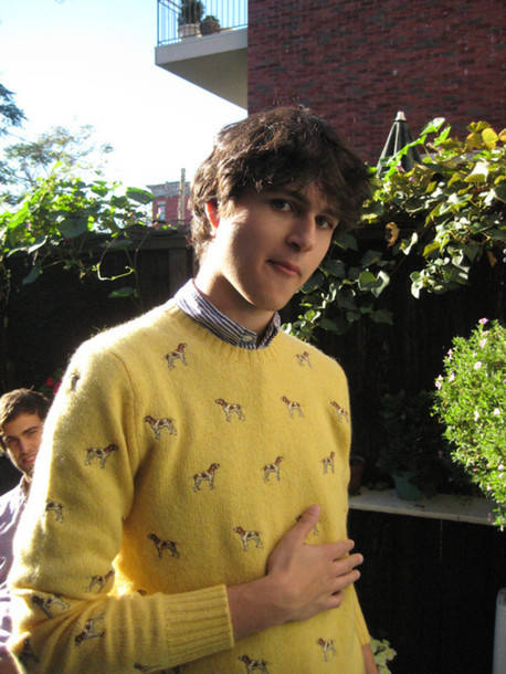 sweater ezra koenig ralph lauren ralph lauren sweater jumper dog dog yellow mens polo