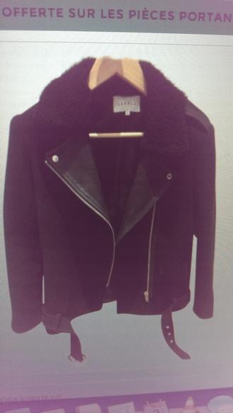 coat black noir manteau laine cuir sandro