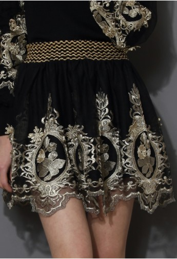 Baroque Golden Embroidery Skater Skirt  - Retro, Indie and Unique Fashion
