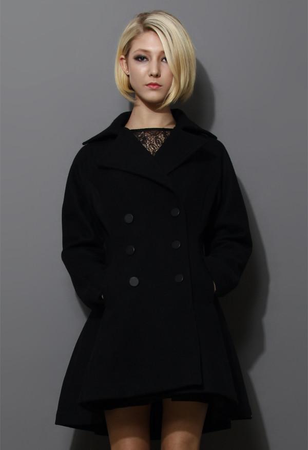 coat flare hem double breast wool coat