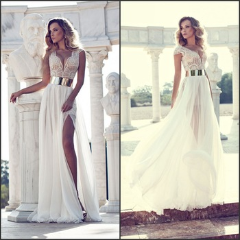 Aliexpress.com : Buy Unique A line V neck Cap Sleeve Beading Patterns Sexy See Through High Slit Flowing Chiffon Wedding Dress 2014 New Arrival from Reliable wedding dresses suits suppliers on My Beauty Bridal Couture